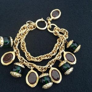 CHANEL Jewelry - Gold Rare Vintage Plated Gripoix Crystal Bracelet